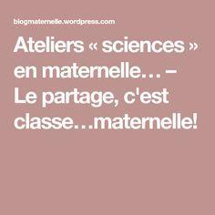 Ateliers «sciences» en maternelle… – Le partage, c'est classe…maternelle!