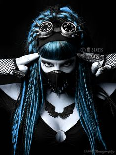 The cyber side of goth. Gothic, cyber, and industrial influences. Dreads, Goth Beauty, Dark Beauty, Dark Fashion, Gothic Fashion, Steampunk Fashion, Emo Fashion, Industrial Goth, Industrial Dance
