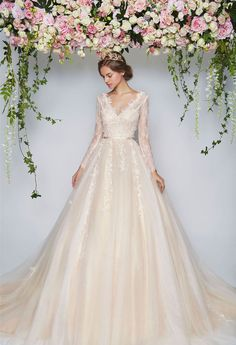 Pretty in Floral Floral Wedding Dresses wedding gown rental - Wedding Gown Wedding Gown Rental, Dream Wedding Dresses, Bridal Dresses, Bridesmaid Dresses, Wedding Bridesmaids, Dress Rental, Modest Wedding, Wedding Dress For Short Women, Conservative Wedding Dress