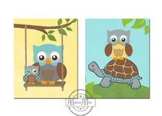 Nursery Owl Print  wall art  Set of two 8 x 10  Boys by MuralMAX, $35.00