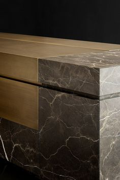 A Big Monolith In Natural Stone And Bronze The New Kitchen Project By Tm Italia - Marble Luxury Furniture, Furniture Design, Antique Furniture, Wooden Furniture, Outdoor Furniture, Kitchen Interior, Kitchen Decor, Joinery Details, Reception Counter