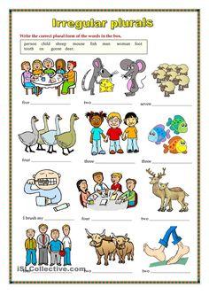 English Grammar For Kids, Learning English For Kids, English Worksheets For Kids, English Lessons For Kids, Kids Learning, Irregular Plural Nouns Worksheet, Irregular Plurals, Plurals Worksheets, Kindergarten Worksheets