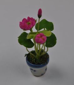 1 miniature (1.6in / 4.0cm ) handmade Pink Lotus with flower in Ceramic Pot for…
