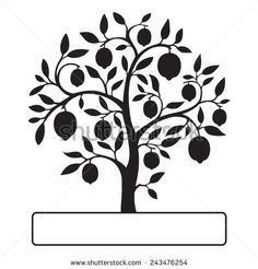 Black lemon tree isolated on white background with a text frame. Vector illustration. - stock vector