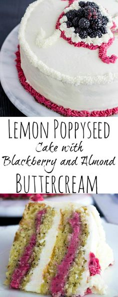 Delicious Lemon Poppyseed Cake with Blackberry and Almond Buttercream is the perfect Summer and Spring dessert for anyone who loves big bold flavors. I think I'd just do 2 layers with the blackberry in between & almond on the outside. Spring Desserts, Just Desserts, Cupcakes, Cupcake Cakes, Desserts Printemps, Cake Recipes, Dessert Recipes, Frosting Recipes, Poppy Seed Cake