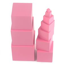 High Quality Wooden Montessori Mathematics Toys Pink Tower Solid Wood Cube 0.7-7CM Early Preschool Educational Children Day Gift