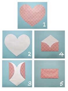 Valentine& Day craft part deux. Last time, I shared with you some crafty heart origami for letters . Then I posted a cou. Cute Crafts, Diy And Crafts, Crafts For Kids, Arts And Crafts, Recycle Crafts, Reuse Recycle, Heart Envelope, Fold Envelope, Gift Envelope