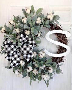 Farmhouse Wreath for Front Door, Cotton Wreath for Front Door, Cotton Wreath With Lambs Ear, Cotton Wreath With Black and White Bow - Wreath decor - Front Door Christmas Decorations, Front Door Decor, Front Doors, Front Porch, Autumn Wreaths For Front Door, White Wreath, Diy Wreath, Tulle Wreath, Greenery Wreath