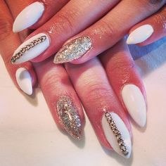 White and Gold Nails for Classy Nail Designs