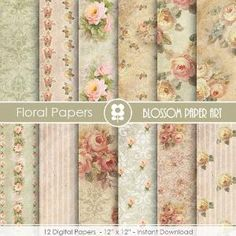 Rose Paper Scrapbook, DIY, Floral Decor Digital Paper Pack, Victorian Roses, Wedding, Scrapbooking, Roses, VIntage Roses by blossompaperart