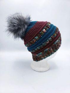 Merino Wool Beanie in Maroon and Teal by OhanaBoutiqueCrochet on Etsy Wool Yarn, Merino Wool, Star Patterns, Crochet Patterns, Faux Fur Pom Pom, Ohana, Etsy App, Sell On Etsy, Crochet Hats