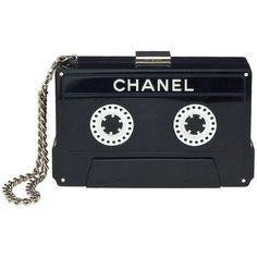 CHANEL CASSETTE TAPE CLUTCH at 1stdibs ❤ liked on Polyvore