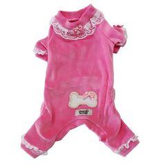 Pijama para Cachorro Plush Rosa Fêmea Dudog Vest - MeuAmigoPet.com.br #petshop #cachorro #cão #meuamigopet