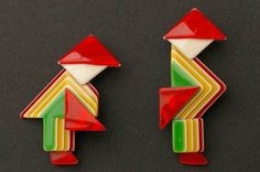 Pair of Lea Stein Chinamen brooches