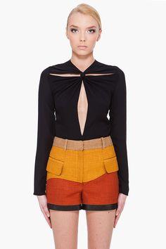 PROENZA SCHOULER Black Front Tie Blouse