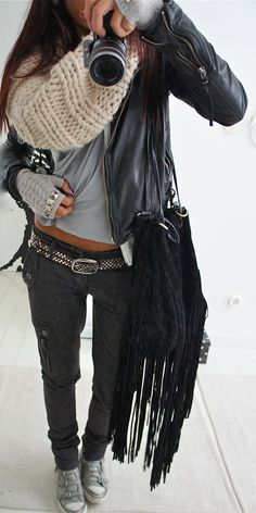 Love this and Heck YES I have an Inner/hippy/grunge side that combined with something really cute...i.e the belt, scarf and gloves REALLY makes it uniquely ME!