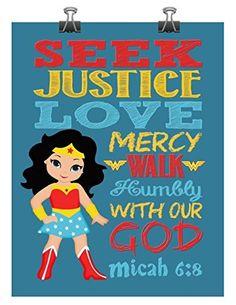 Superhero Wall Art Print - Wonder Woman Inspired Christian Nursery Decor - Seek Justice Love Mercy Walk Humbly with our God - Micah 6:8 Bible Verse