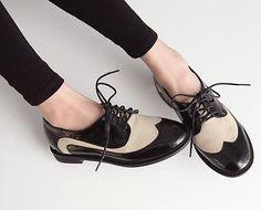 Womens Trendy Vogue Classical Shoeslace Fashion Mixed Colors Shoes Flat Heel 1mz