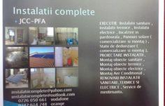 JCC-PFA,executa instalatii sanitare,instalatii termice,instalatii electrice,incalzire in pardoseala pentru case,vile,blocuri (la rosu), si ansambluri rezidentiale;Renovari instalatii sanitare,termice si electrice la case,vile si apartamente;Statii de dedurizare(comercializare,montaj si service asigurat);Panouri solare(comercializare,montaj si service);Montaj aer conditionat;Montaj obiecte sanitare,termice si electrice ;Proiectare instalatii; Servicii mentenanta.Acept si colaborare…
