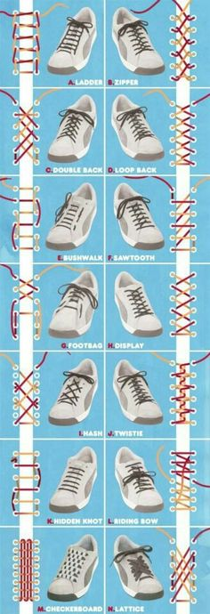 Interestingly complicated ways to tie your shoe :(