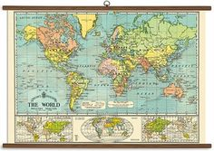 This vintage style world map is reminiscent of old school classroom and is ready to hang. Whether you need something for the kid's playroom or the living room - its sure to get looks and compliments.