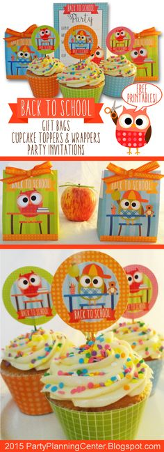 FREE Printable Back to School Gift Bags, and Cupcake Toppers and Wrappers