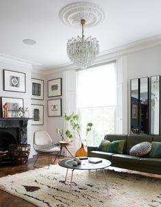 Industrial Vibe #8   Livingetc #TileEffectLaminateFlooring Dark Living Rooms, Home Living, Living Room Designs, Living Room Decor, Bedroom Decor, Dining Room, Wall Decor, Green Leather Sofa, Victorian Living Room
