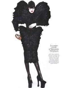 Enikő Mihalik in Alexander McQueen, photographed by Inez & Vinoodh for Vogue Paris August 2009.