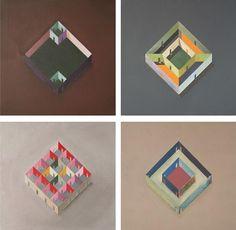 Colourful geometrical studies in oil paint by Chilean practice Pezo von Ellrichshaussen
