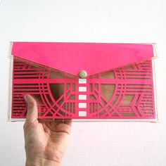 Neon Pink Cut Out Art Deco Clutch  Geometric Laser by FabParlor, $46.00