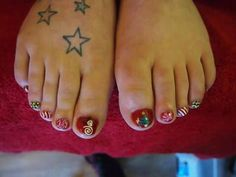 Christmas pedicure by Felicity Burgess - Young at Belle Dame Nails.