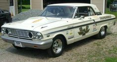 1964 ford fairlane 500 thunderbolt super car. my grandpa and uncle made one of these, but in the maroon color!(: