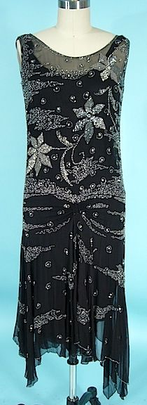 c1926 Black chiffon beaded Flapper dress.  For more images: http://www.antiquedress.com/item2876.htm