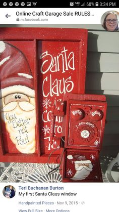 I found two more Santa's that I painted a few years back. They both sold so they couldn't be too bad. I would love to paint a life like Santa someday Old Window Decor, Rainy Day Crafts, Vintage Phones, Window Screens, Christmas Time, Christmas Crafts, Bettering Myself, Repurposed, Painted Snowman