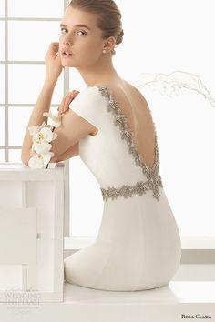 rosa clara 2016 bridal collection bateau neckline short sleeves clean simple white sheath wedding dress denise v low cut back zoom