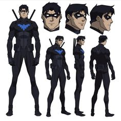 Nightwing model sheet from Young Justic Young Justice Characters, Superhero Characters, Dc Comics Characters, Dc Comics Art, Marvel Comics, Batman Hush, Batman Art, Superman, Gotham Batman