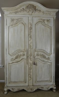 Shabby Chic French Armoire / Entertainment Center Ethan Allen Legacy Collection
