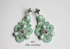 "earrings-""Spring breeze in the garden""  soutache, white jade, white agate, quartz, glass beads, Czech and Japanese, accessories, Nat. skin."