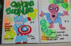 Super heroes Notebook Art, Diy And Crafts, Photos, Stamp, Education, Ideas, Amor, School Notebooks, Decorated Notebooks