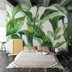 urban jungle #bedroom - Myloview tropical leaves wall mural