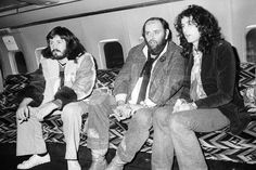 John Bonham, Peter Grant and Jimmy Page aboard the Starship