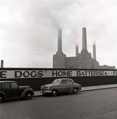 Battersea Power Statioin, London. c.1960. Known when it was built as the 'Cathedral of Electrons'.
