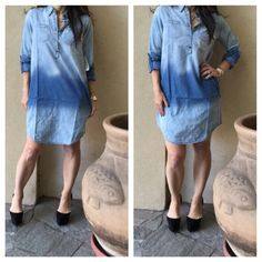Denim dress two tone dress Fall hit new trend Shirt dresses! This denim shirt dress is a must have. New just in! PLEASE comment on the size you want and allow me to make your personalized listing BUNDLE and save 10% Dresses
