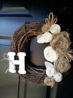 18 Burlap and Felt Wreath-Chose your own letter-Perfect for spring or a wedding or shower gift via Etsy Felt Wreath, Diy Wreath, Grapevine Wreath, Burlap Wreath, Initial Wreath, Front Door Decor, Wreaths For Front Door, Door Wreaths, Crafts To Make