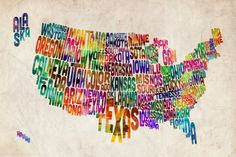 United States Text Map - Michael Tompsett