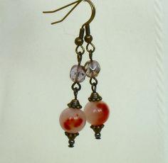 Burnt orange agate earrings - vintage style £6.00