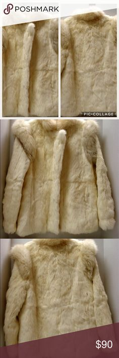 "Coming Soon: Vintage Rabbit Fur Coat Gorgeous Vintage White Rabbit Fur Coat. Women's Vtg Rabbit Fur Coat  DIMENSIONS:   Length:  27.5"" Sleeve Length:  24.5"" Shoulder to Shoulder:  16"" Underarm to underarm (bust):  19"" Jackets & Coats"