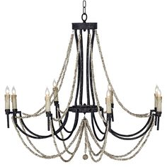 An elegantly aged, coastal beach style, shabby chic chandelier, the Percy by Gabby is crafted of distressed black metal with antiqued ivory wooden beads. A focal point of understated decadence for any foyer, living or dining room with delicate ribbons of Nautical Chandelier, Shabby Chic Chandelier, Black Chandelier, Beaded Chandelier, Chandelier Lighting, Chandelier Redo, Focal Point Lighting, Empire Chandelier, Light Fittings