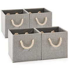 Ezoware Set Of 4 Foldable Fabric Basket Bins Collapsible Storage