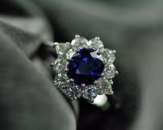 Sapphire & Diamond Vintage Cluster Engagement Ring by RubyGrays